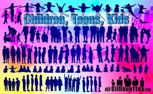 Siluetas de niños, adolescentes y jóvenes