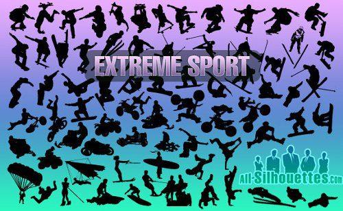 Siluetas de deportes extremos