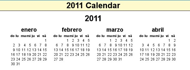 calendario 2011 para imprimir
