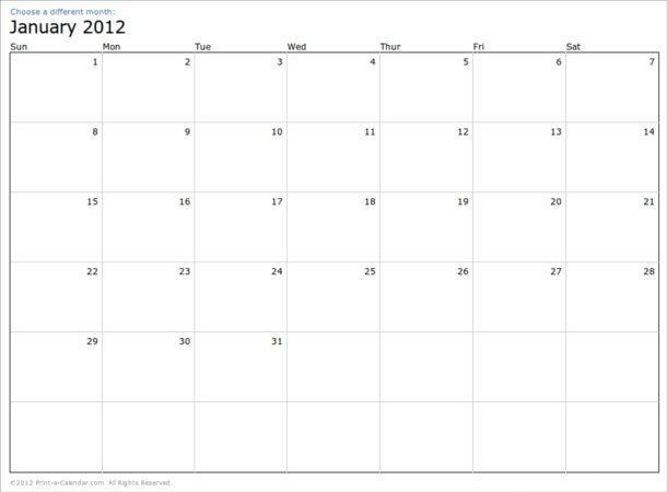Calendario 2012 para imprimir