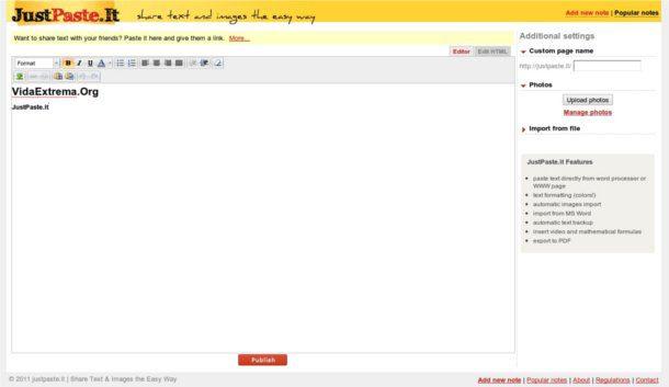 Editor de texto online