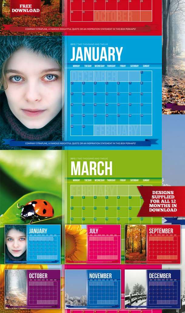 Calendario Indesign.Calendarios Gratis Para El Software Adobe Indesign