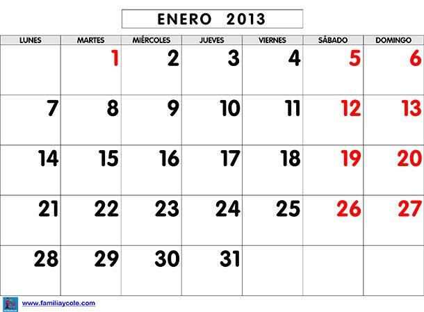 Calendario escolar 2013