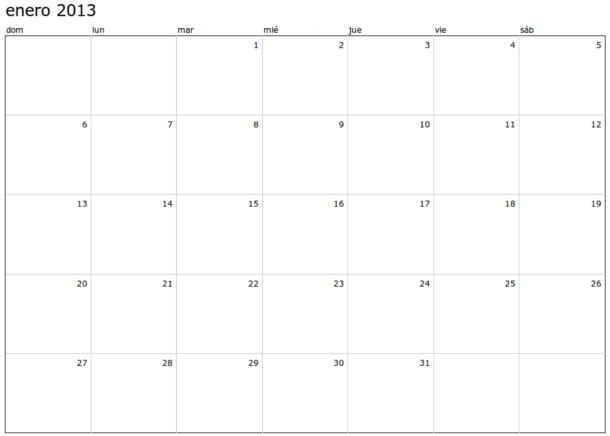 calendario 2013 para imprimir