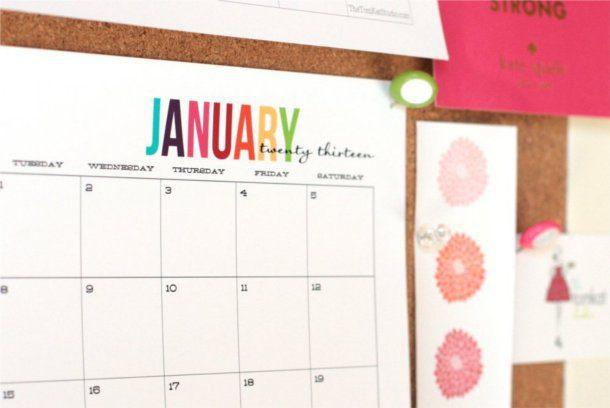 Colorido calendario 2013