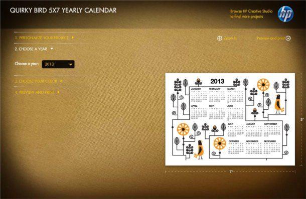 calendarios de 2013 de Helwett Packard