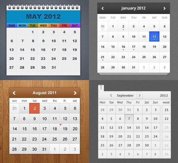Calendarios en PSD