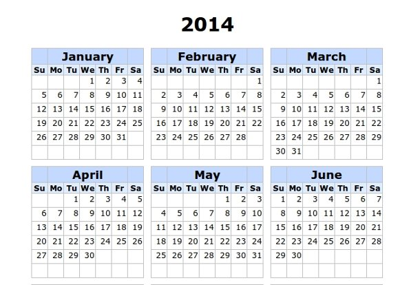 calendario minimalista para imprimir de 2014