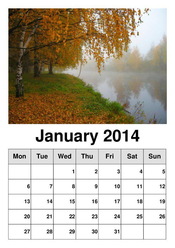 calendario 2014 para imprimir con hermosos paisajes