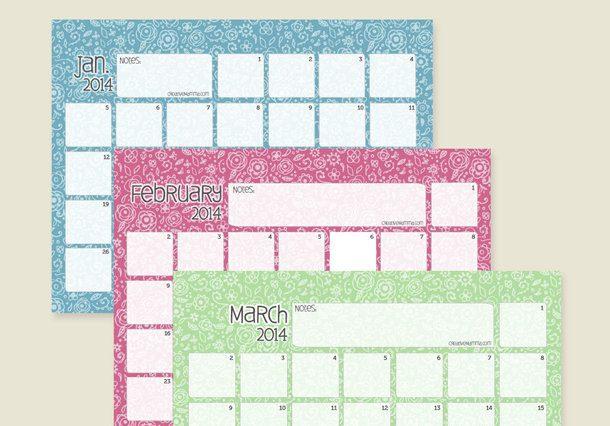 Calendario colorido para anotaciones