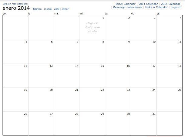 Calendario mensual para anotaciones
