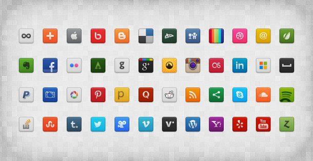 set iconos de redes