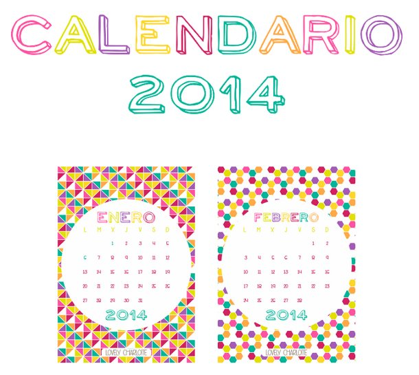 Colorido calendario 2014