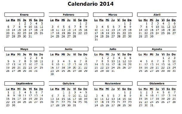 Simple calendario de 2014