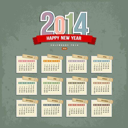 Calendario vectorial de 2014
