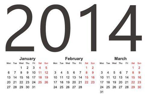 2014 calendario con letras gigantes