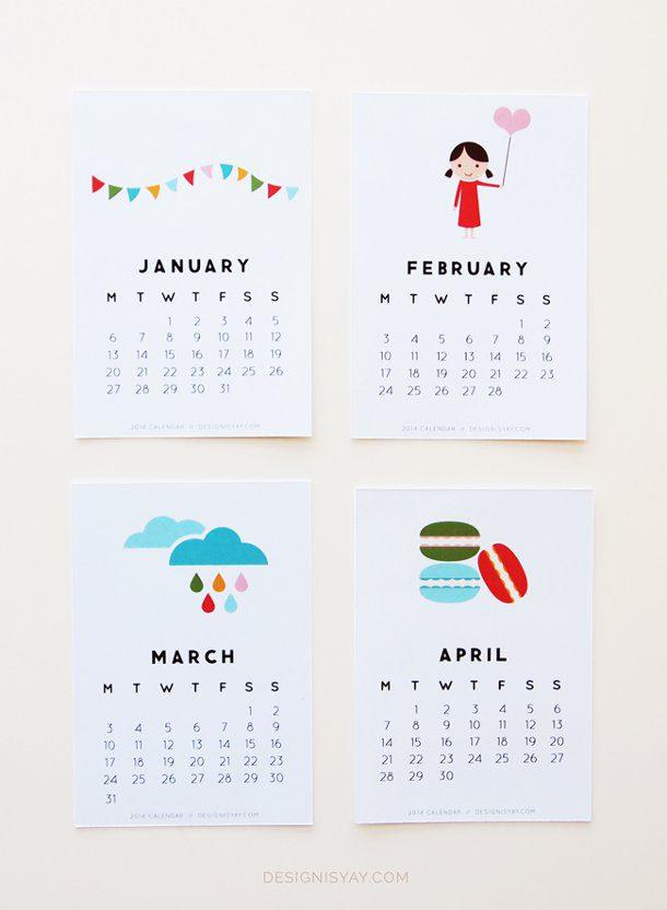 calendario año 2014 dibujos animados