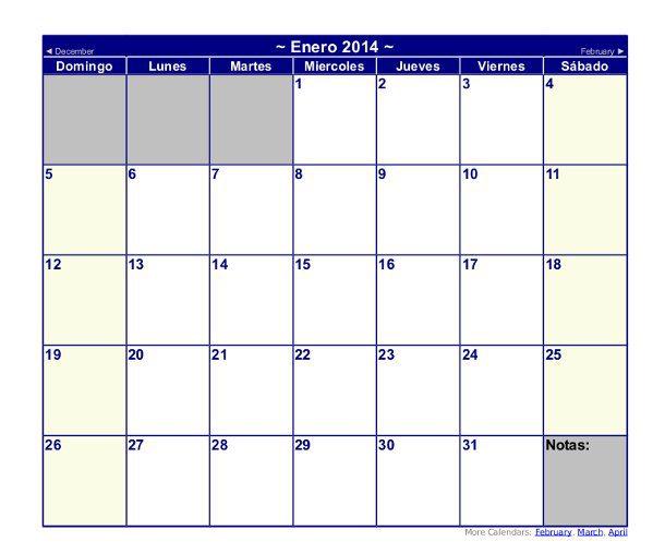 plantilla de calendario 2014