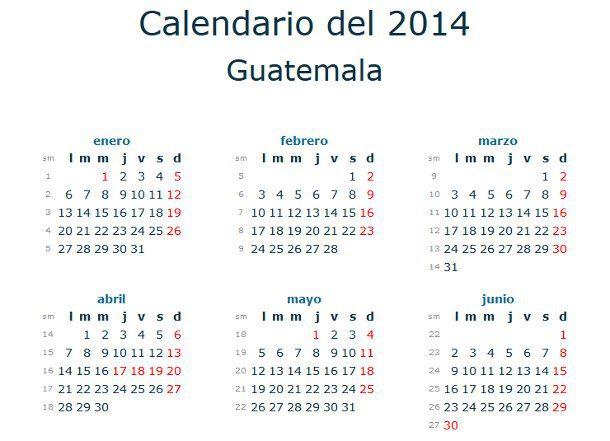 Calendario 2014 con festivos de Guatemala