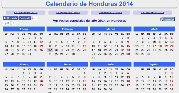 Calendario 2014 con festivos de Honduras