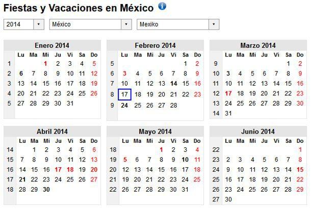 Calendario 2014 con festivos de México