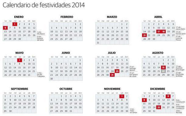 calendario 2014 con festivos