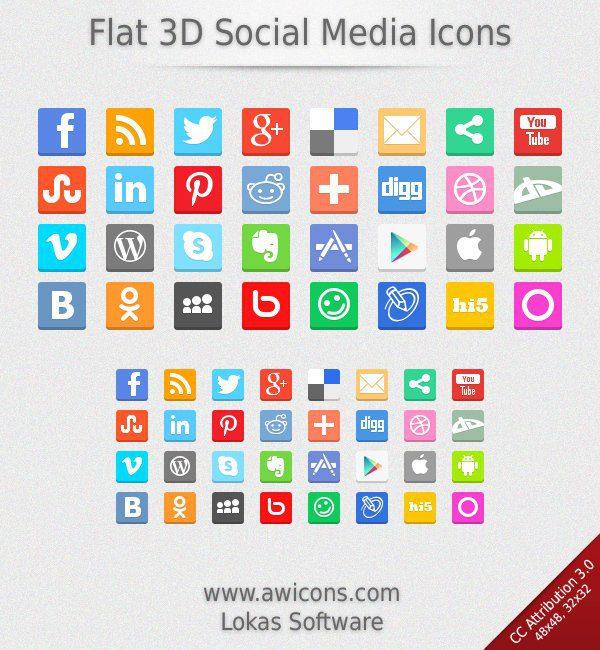 iconos flat 3D