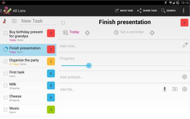 Mirakel crear listado de tareas pendientes