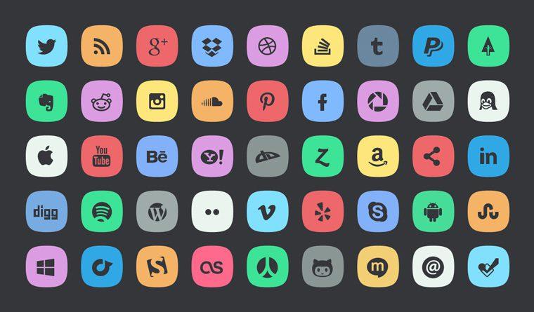 Delicados iconos de redes sociales