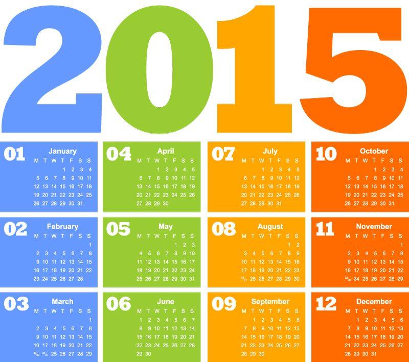 Colorido calendario 2015 a cuatro colores