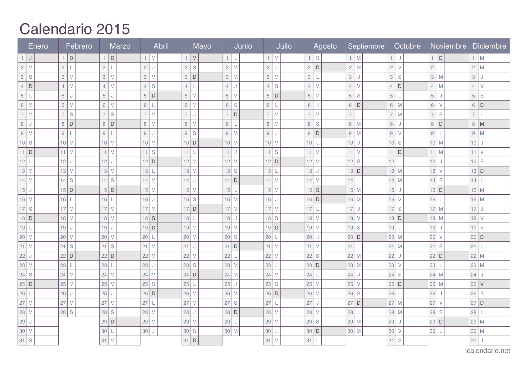 Calendario de 2015 para colocar anotaciones