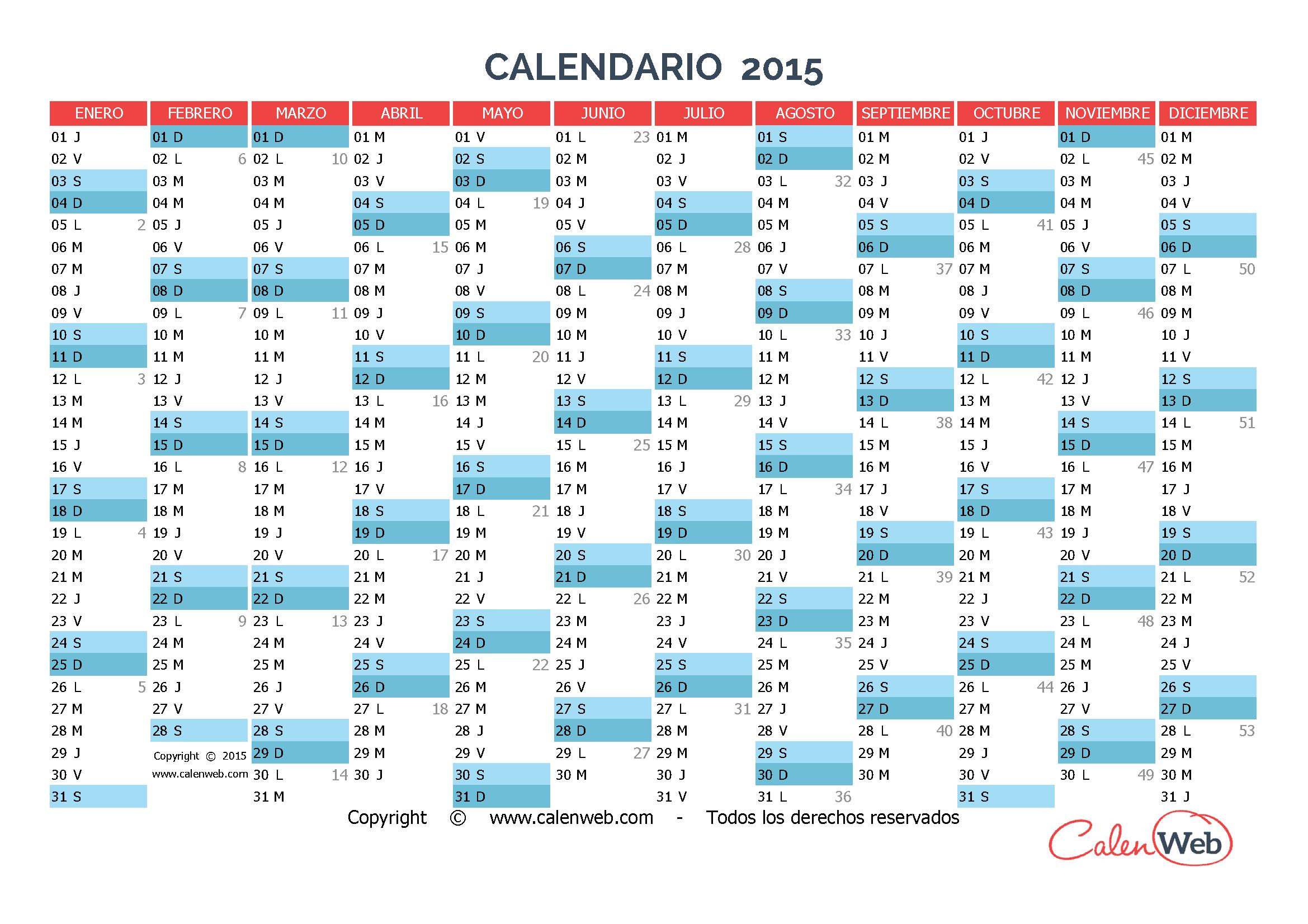 Calendario anual de 2015 a varios colores