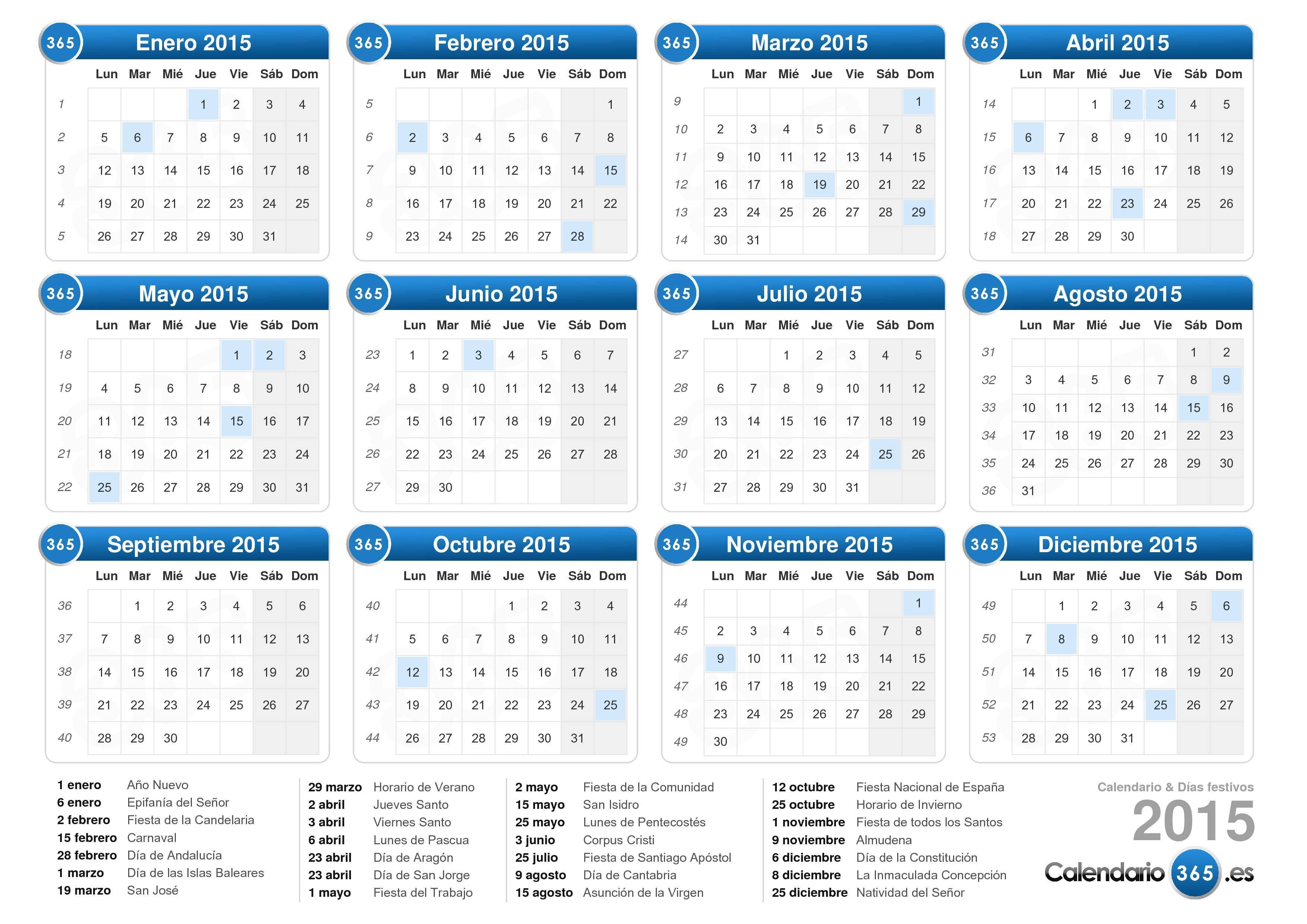 Calendario con días festivos 2015