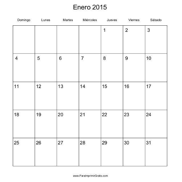 Calendario mensual del 2015