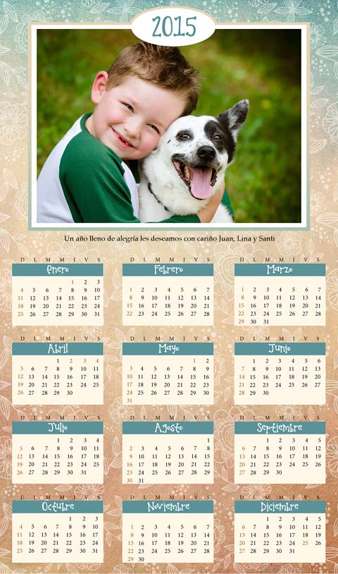 Calendario 2015 con foto para imprimir