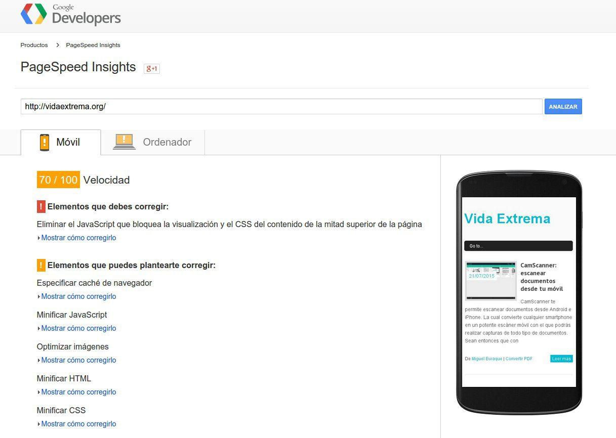 Análisis de la versión móvil con PageSpeed insights