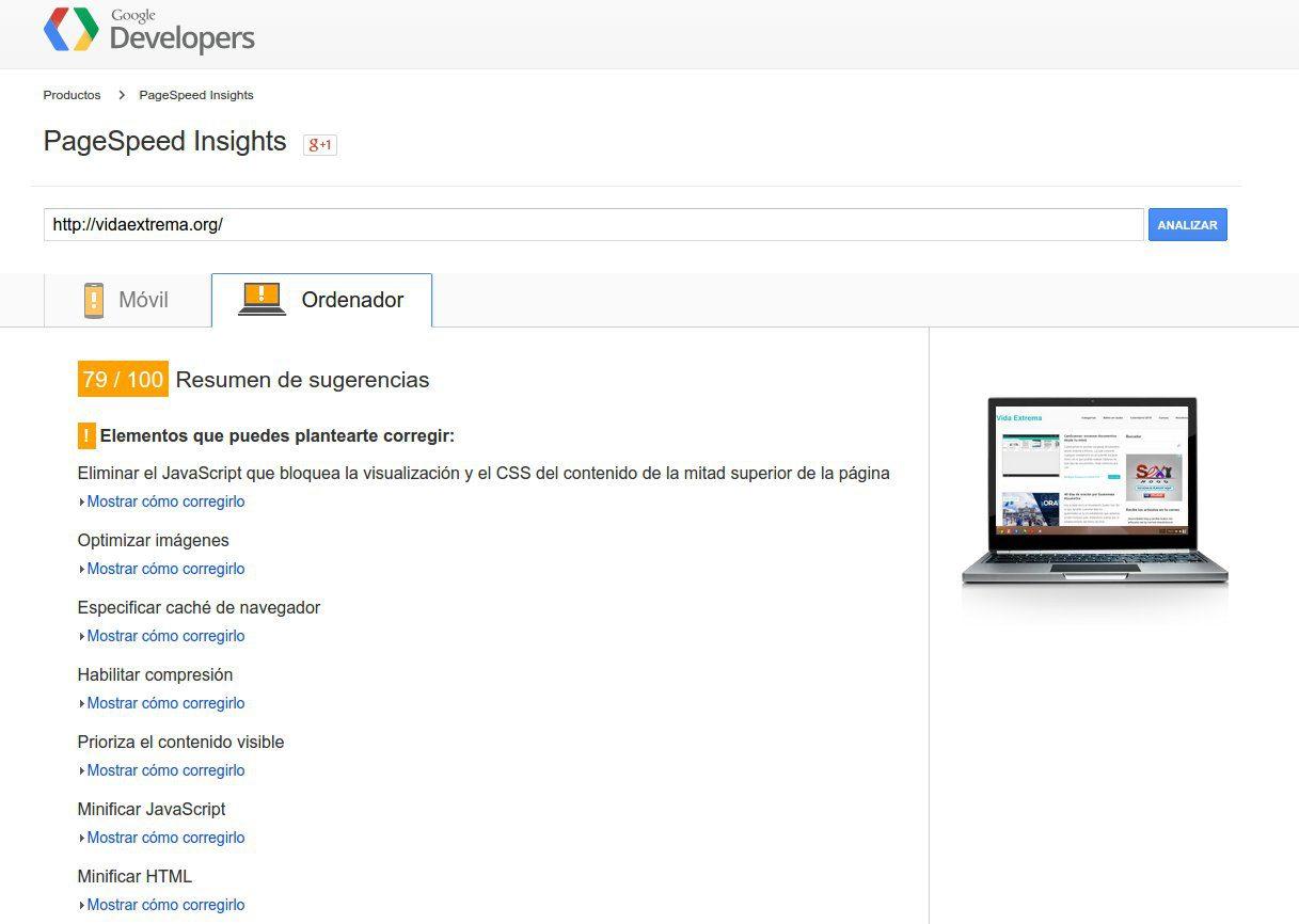 Análisis de la versión desktop con PageSpeed insights