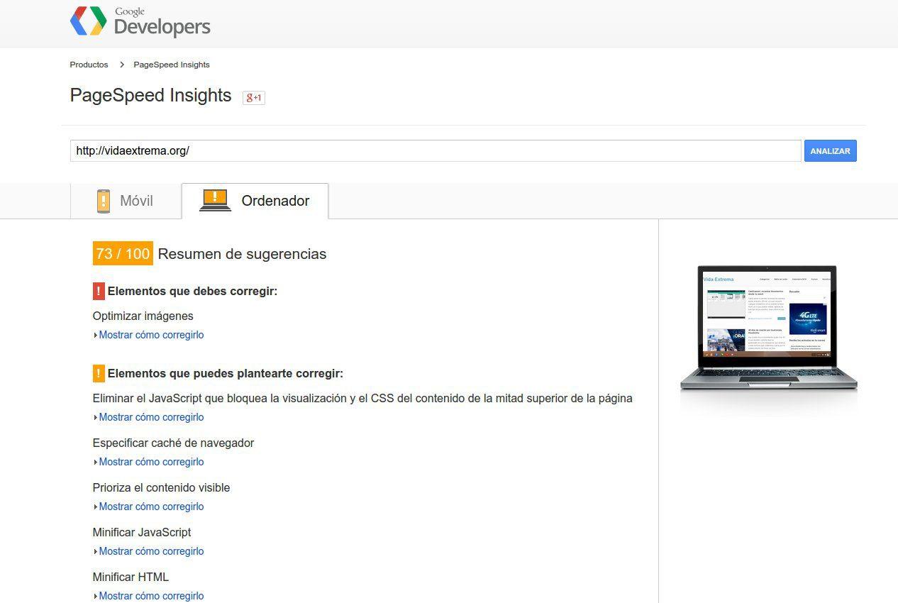 Análisis de versión desktop con PageSpeed insights