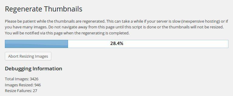 Compresión automática de imágenes con Regenerate Thumbnails