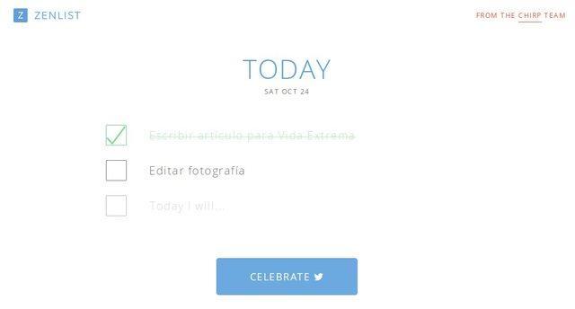 Zenlist es una aplicación gratis que sirve para crear listas de quehaceres