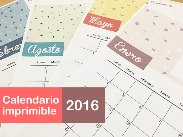 Calendario 2016 multicolor e imprimible