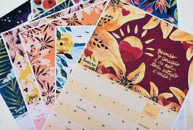 Pintoresco calendario 2016 para imprimir en portugués