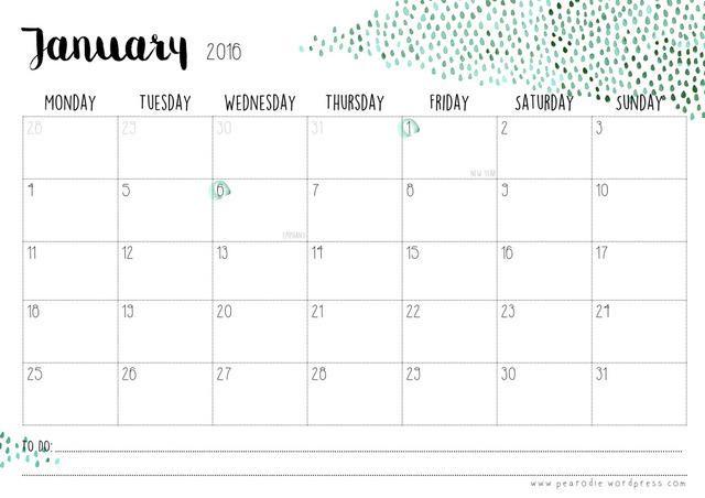 Calendario 2016 con diseño de gotas de lluvia