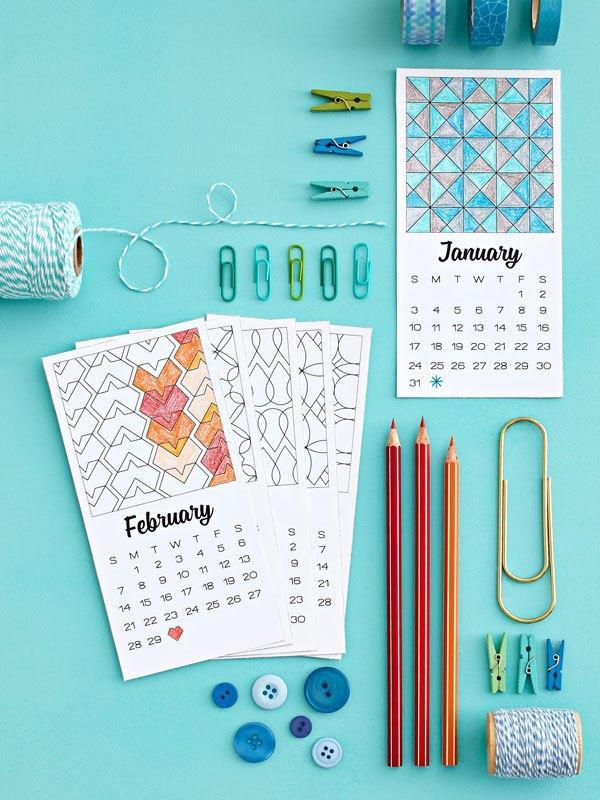 Calendario 2016 para imprimir y colorear