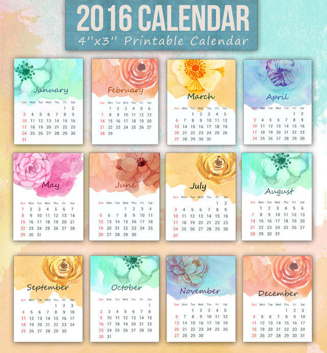 Mini calendario 2016 imprimible