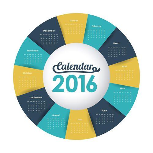 Calendario circular para imprimir de 2016