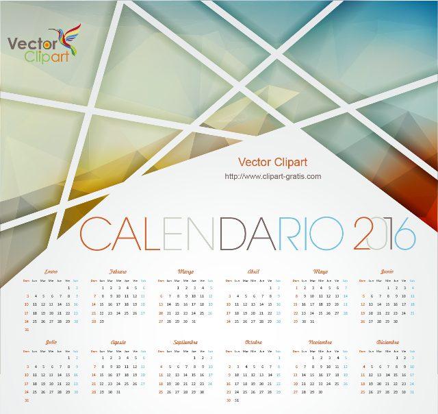 Calendario 2016 para imprimir con diseño abstracto