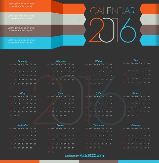 Calendario con diseño moderno para 2016