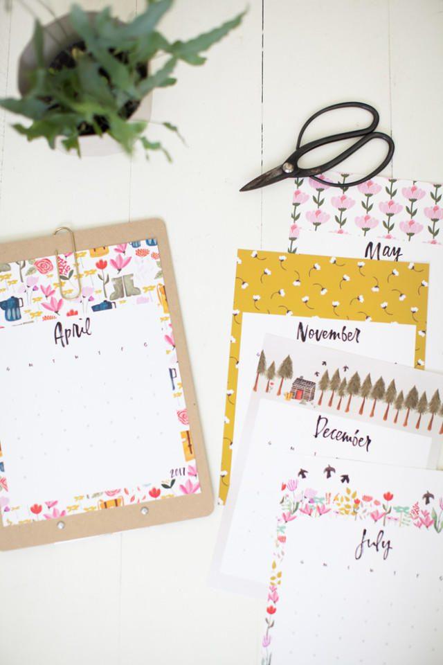 Calendario con dibujos para imprimir