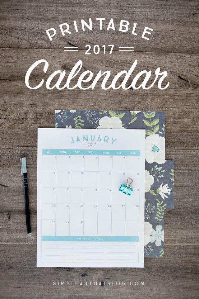Elegante calendario 2017 imprimible